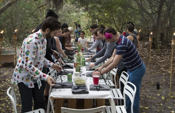 """Artists in residence prepare their """"Jungle Dinner"""" in Captiva.  Courtesy of The Robert Rauschenberg Foundation."""