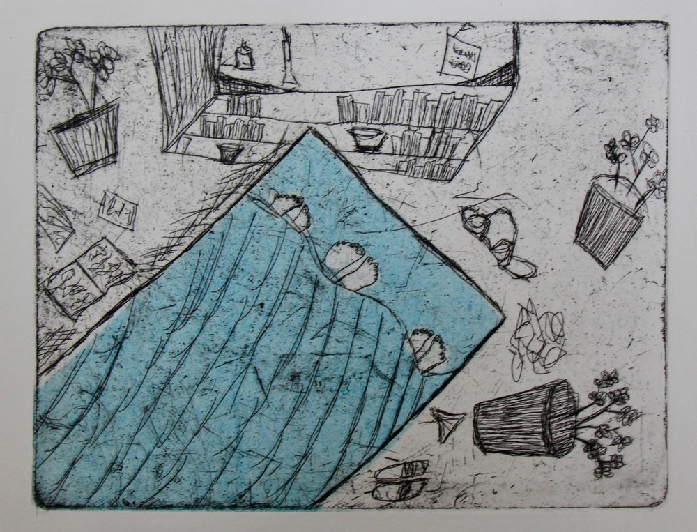 """""""Toes in Bed"""" Intaglio print by Nora Waters"""