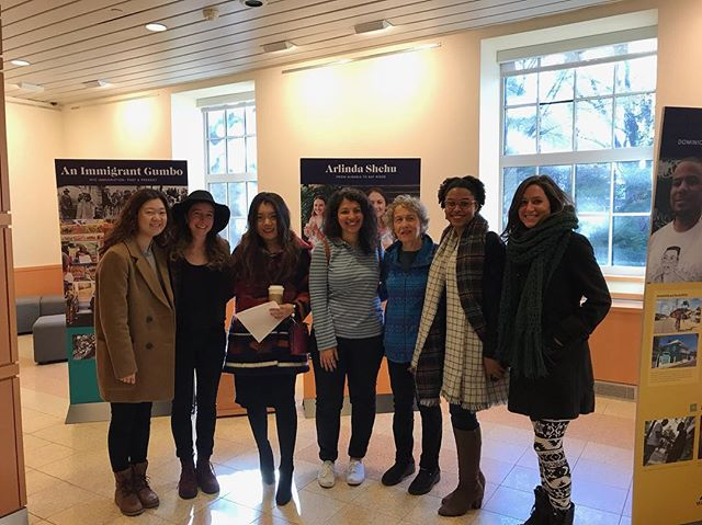 """Some of the 2018 cohort headed along to the """"We are Brooklyn: Immigrant Voices"""" exhibition at Brooklyn College Library this afternoon! A great afternoon had by all, thank you to Professor Seigel for the tour!  #brooklyn #oralhistory #brooklyncollegelibrary"""