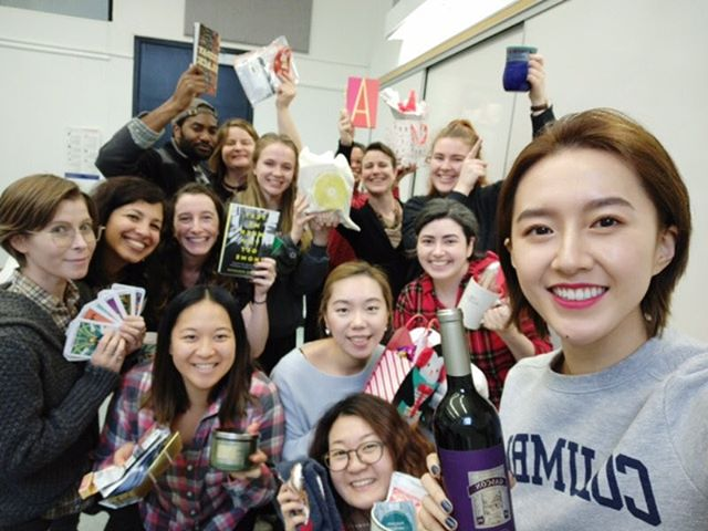 Happy holidays for the OHMA 2018 cohort!! Here we are enjoying our secret Santa gift exchange - lots of comfy socks and blankets!