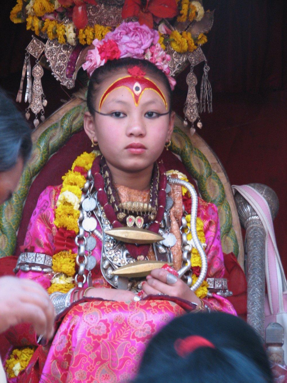 The Patan Kumari, or living goddess.  Source: Ellen Coon