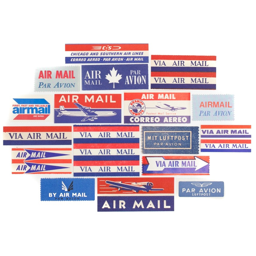 Saturday AM Vintage - Vintage Airmail Labels (set of 18), $10.00. Use code EvaMoon for 20% off your order through the end of December.