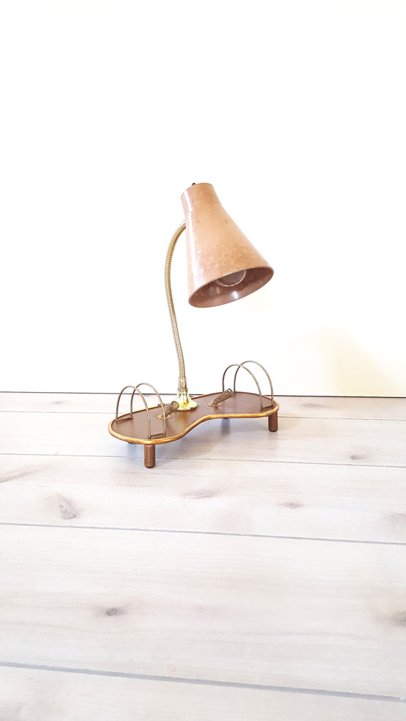 Lucky Home Finds - Mid Century Gooseneck Lamp with Letter Holders, $65.00.