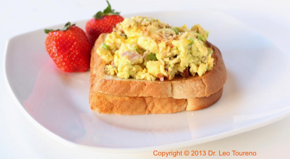 Hearty avocado scrambled eggs