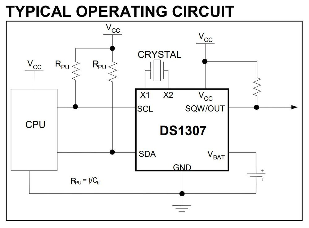 Figure 1: A Typical DS1307 Circuit