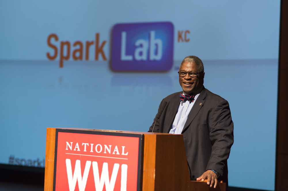 Kansas City, Missouri Mayor Sly James welcomes the Demo Day audience.
