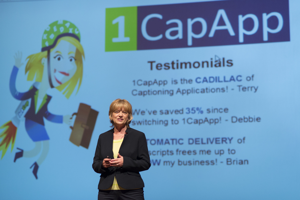 Jeannette Christian, 1CapApp co-founder, delivers at Demo Day.