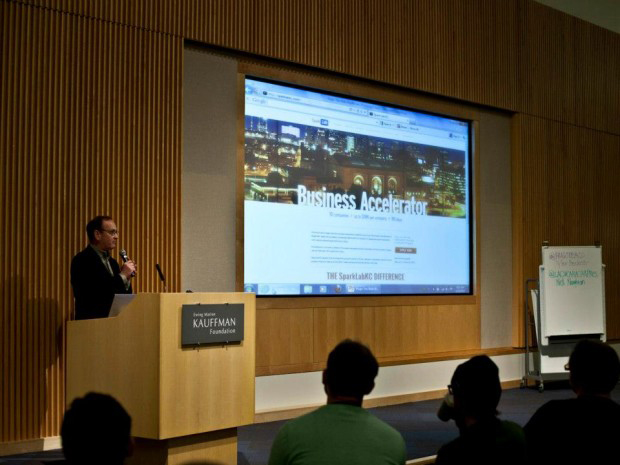 SparkLabKC founder Kevin Fryer speaks at the Ewing Marion Kauffman Foundation. |Courtesy of Max Wagner/SparkLabKC
