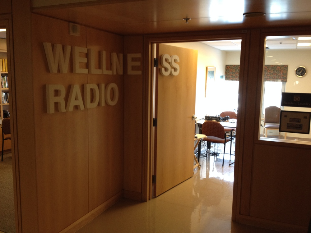 Wellness Radio Booth in the 3rd floor Laundry room of Huron Lodge, Windsor ON.  Broadcasting at 89.5FM