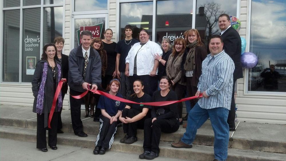 Chef Drew Araneo and team in front of the new, post-Sandy  Drew's Bayshore Bistro (photo from Facebook, Drew's Bayshore Bistro)