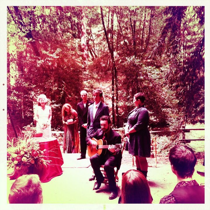 Singing at friend's wedding, California