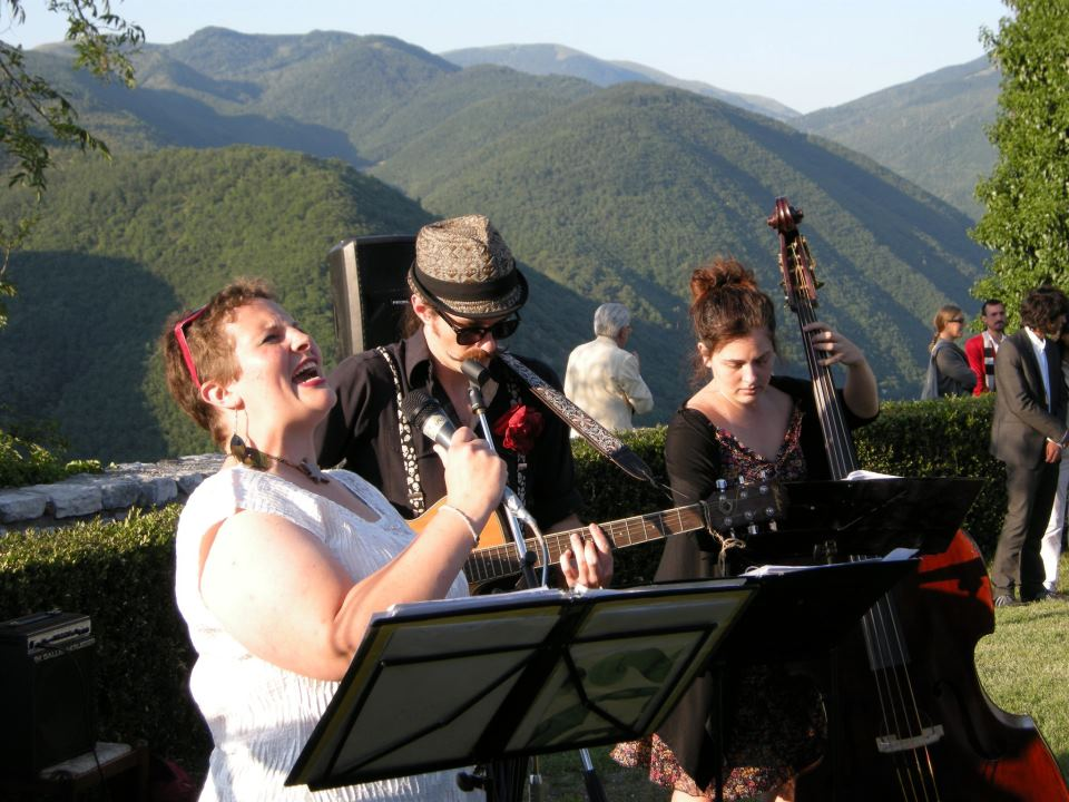 Singing with jazz band, Italy