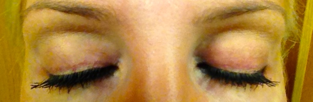 The Lid-darkening on me: which doesn't phase me at all. Um have you SEEN my lashes? =)