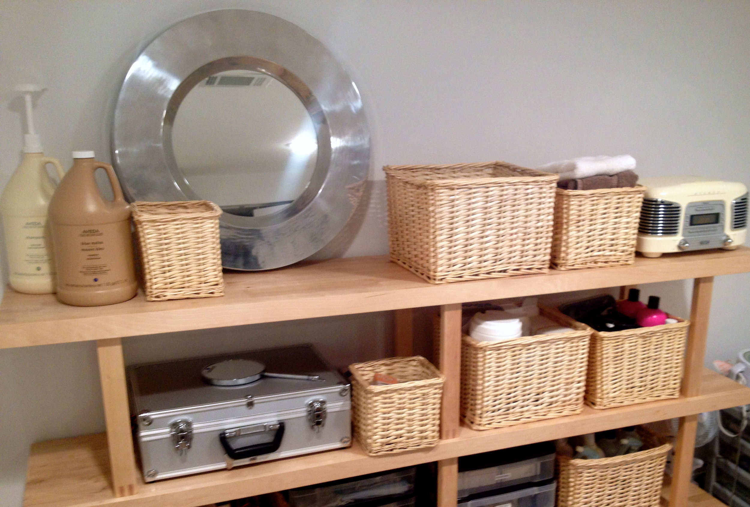 Baskets from Ikea, and one of the Aluminum cases I got at Harbor Freight