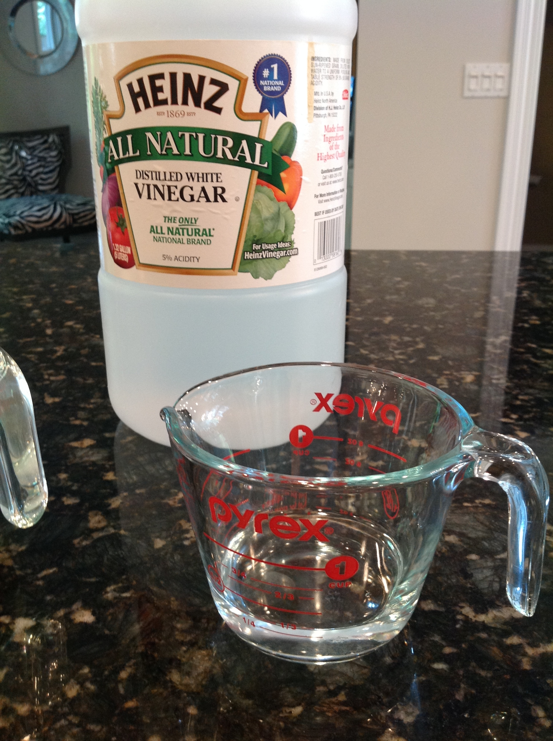 Step 1: Measure your white vinegar. I love to use my pyrex for this process.