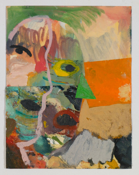 "Head # 6 , 2012, oil on paper, 14"" x 10.5"""