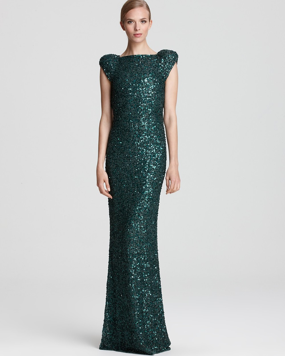 ABS by Allen Schwartz Sequin Gown - Cap Sleeve Open Back