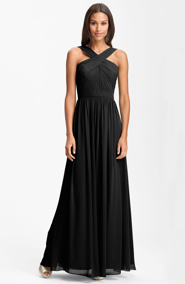 ML Monique Lhuillier Bridesmaids Crisscross Chiffon Gown