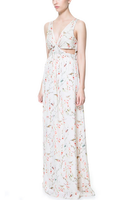 Zara Long Crossover Japenese Print Dress