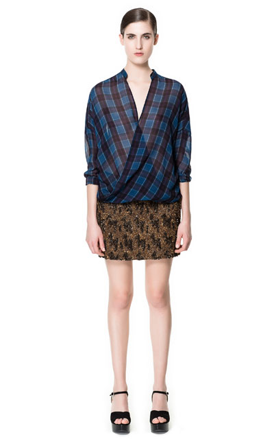 ZARA CHECKED CROSSOVER SHIRT AND SEQUINED SKIRT