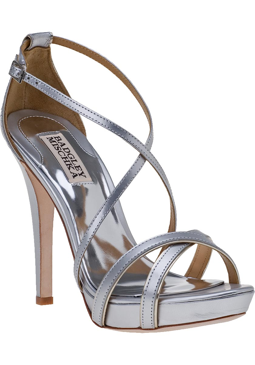 BADGLEY MISCHKA FIERCE EVENING SANDAL SILVER LEATHER