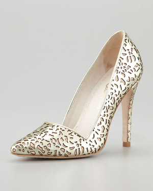 alive + olivia Dina Laser Cut Mirrored Pumps