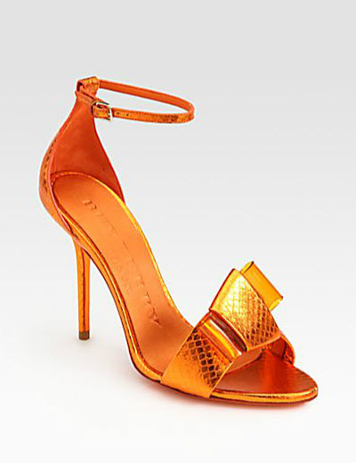 Burberry Bow Detail Metallic Snakeskin Sandals