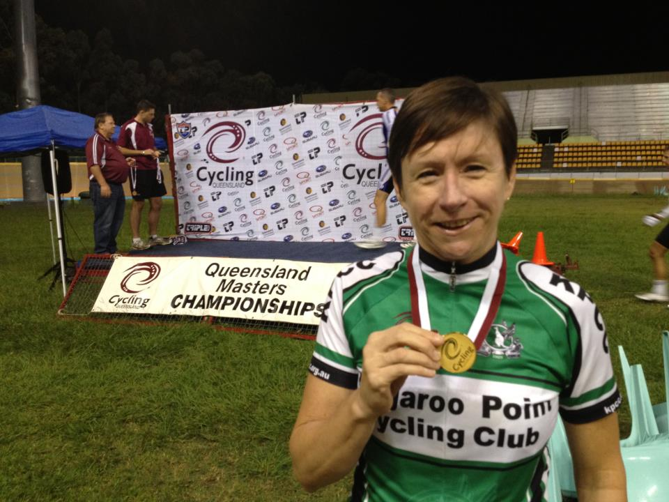 TeamKP's newest State Champion Club Captain Jacinta with her gold medal from the @QLDcycling masters track champs!