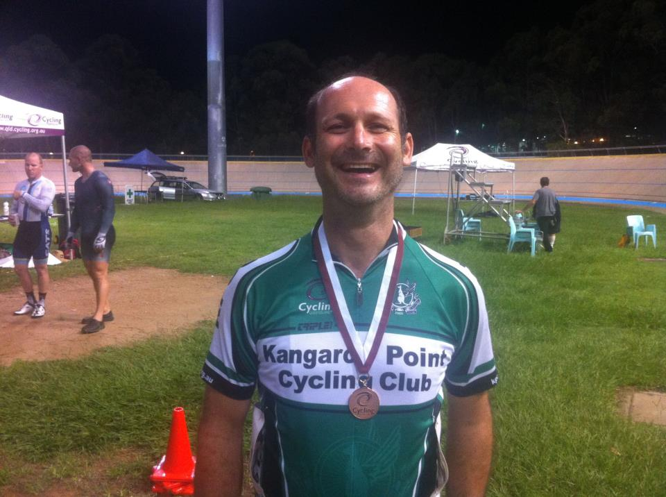TeamKP's DaveM - happiest man alive right now - with his bronze medal from the @QLDcycling #QLDmasters!