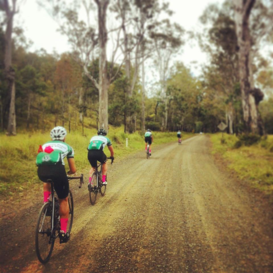 """We'll take another 6.8km of gravel thanks!"" says TeamKP... #rgr — with Tom Cassingham, Claire Hemming, Scott Bishop, Dominic Doan, Aaron Urquhartand Cameron Hemming."