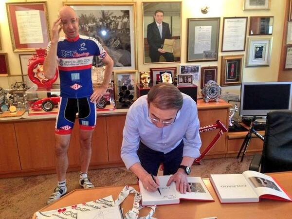 ‏@QSMRacing: New team bike contract being signed by Ernesto @Colnagoworld #NotReally #WeWish #ThatIsHimThough