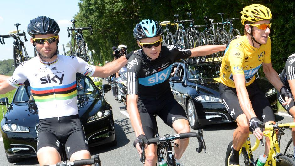 Cav, Froomedog & Wiggo celebrating Team Sky's dominance of the 2012 Tour de France