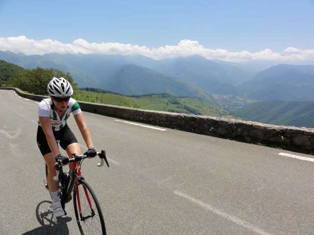 Claire on the climb up to Col d Aspin