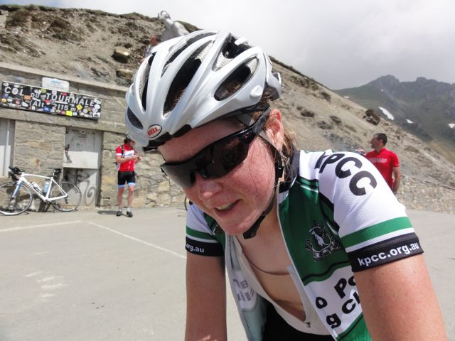 Claire is also pleased to be at the top of the Tourmalet... though anyone who has ridden with Claire will understand it's either silence, or something else... on the hills!