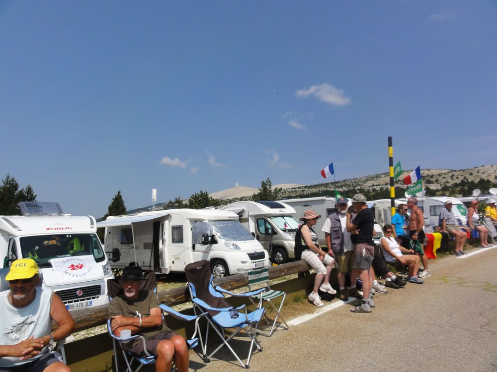 Mt Ventoux was packed top to bottom with campervans, cars and tents!