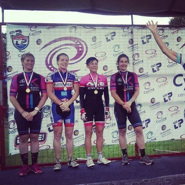 Liz Nelson (L) (Kangaroo Point Cycling Club for Kirsty Broun Racing), Katrina Robertson (R) (Kangaroo Point Cycling Club for Kirsty Broun Racing)