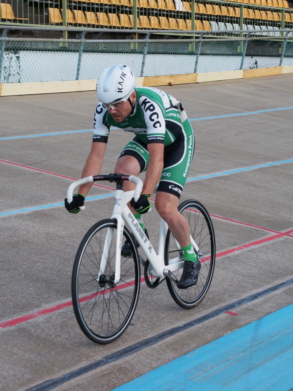 James in the pain cave during the 4000m Persuit