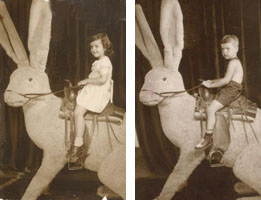 Photos of Toni's mom and dad as children on the same Coney Island rabbit around 1947. They didn't know each other at the time.