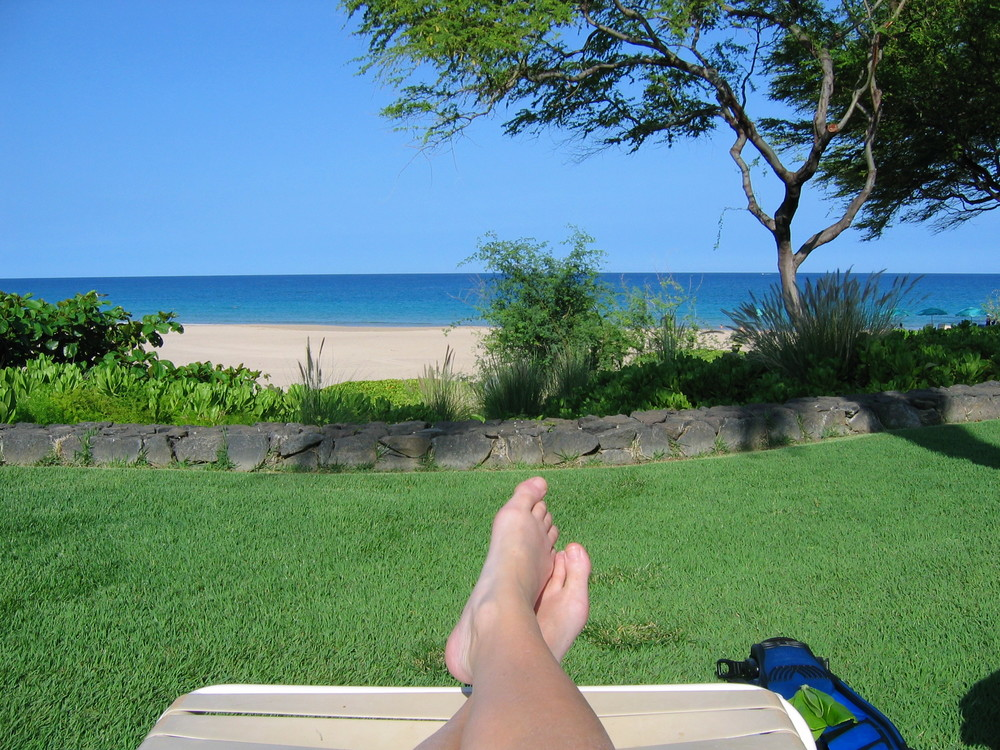 The view from my chair, looking out on Hapuna Beach. Does it get any better than this?