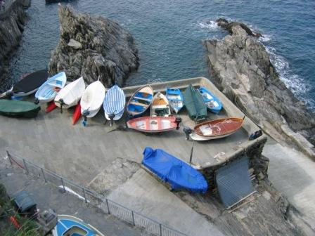 Boats at the Manarola waterfront.