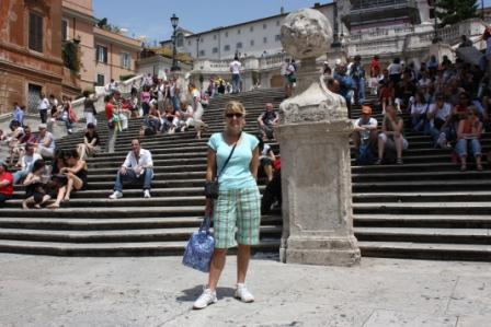 Toni on the famous Spanish Steps in Rome.