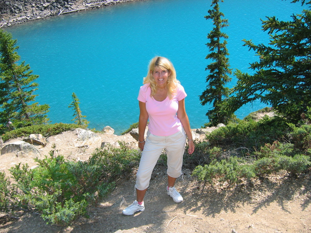 At Moraine Lake, where the water is a deeper, even more electric blue than at Lake Louise.