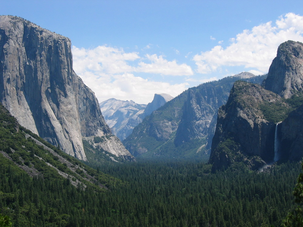 From there, we ventured up to Yosemite, which I adored. This is a classic view of some of Yosemite's most outstanding landscape – in this picture alone you can see Bridal Veil Falls, Half Dome, and El Capitan.