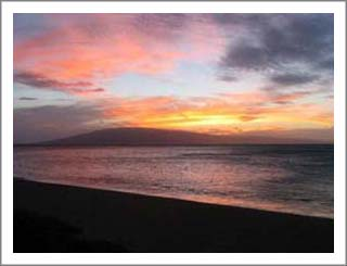 A beautiful sunset over Lanai.