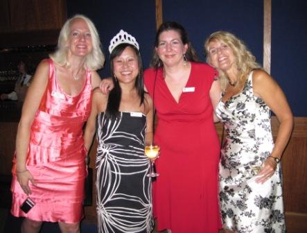 At the fabu Avon cocktail party at the Epcot Center's Living Seas: publicity guru Pam Jaffee, my wonderful editor May Chen, author pal Julie Anne Long, and me.