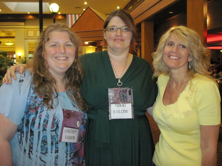Lindsey Faber (Samhain editor and my assistant), Nikki Enlow (long-time RWA friend), and me