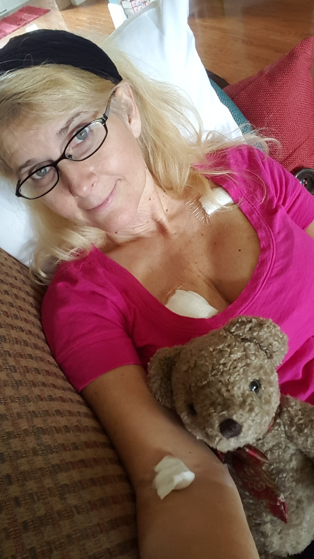 Resting comfortably at home after my lumpectomy.
