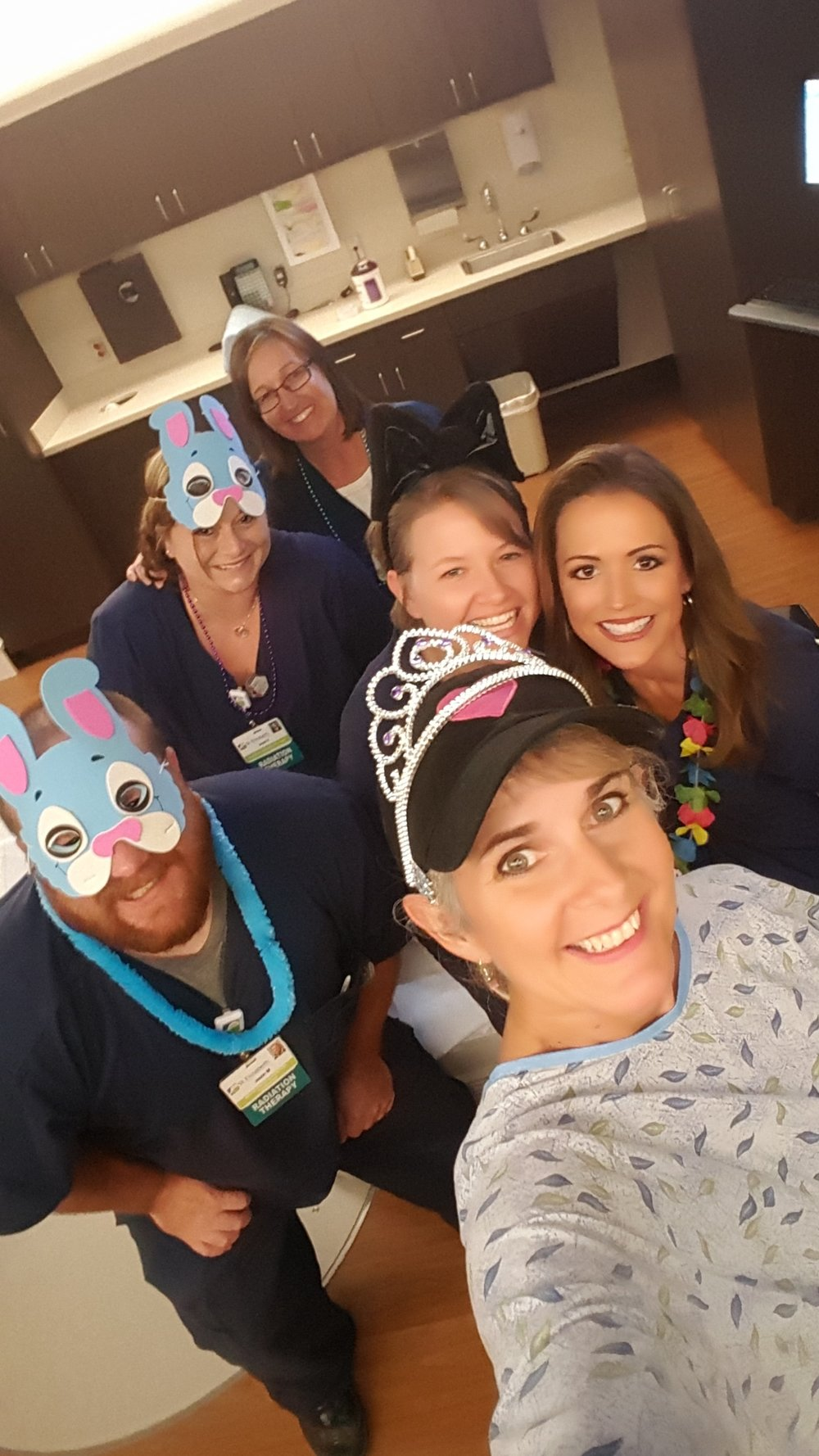 "I really bonded with my radiation team, and on ""radiation graduation day,"" they threw me a little party, complete with tiara!  It was so fun and made me feel special!"