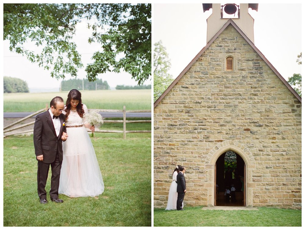 Fine Art Film wedding photographer Columbus Ohio Lily Glass Photography. Madewell Wedding dress, Otis James Bow-tie, first look. Picnic Wedding