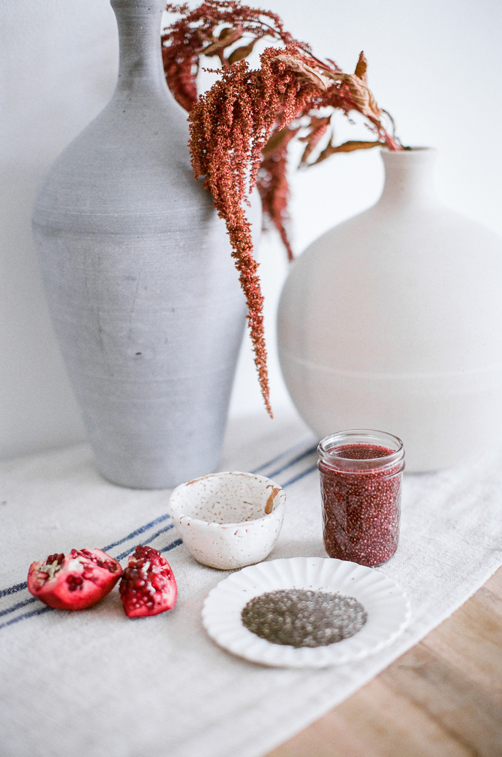 pomegranate green tea chia drink for ginger & birch